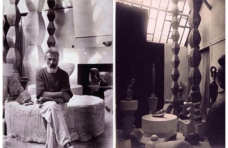 Constantin Brâncuşi în atelierul său parizian