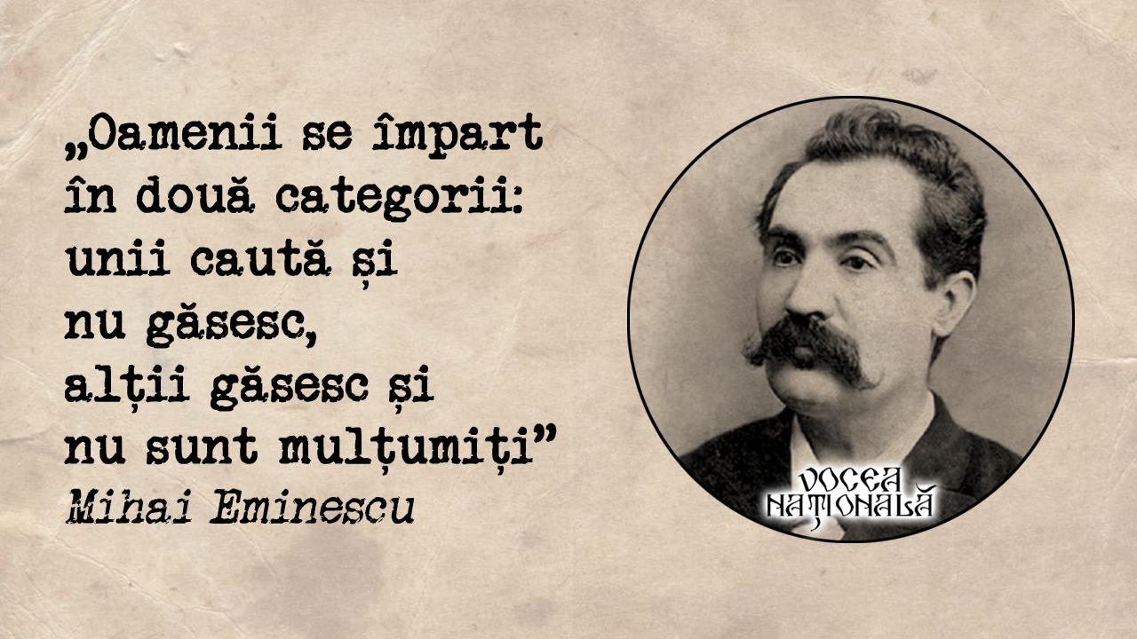 Două categorii de oameni citat de Mihai Eminescu
