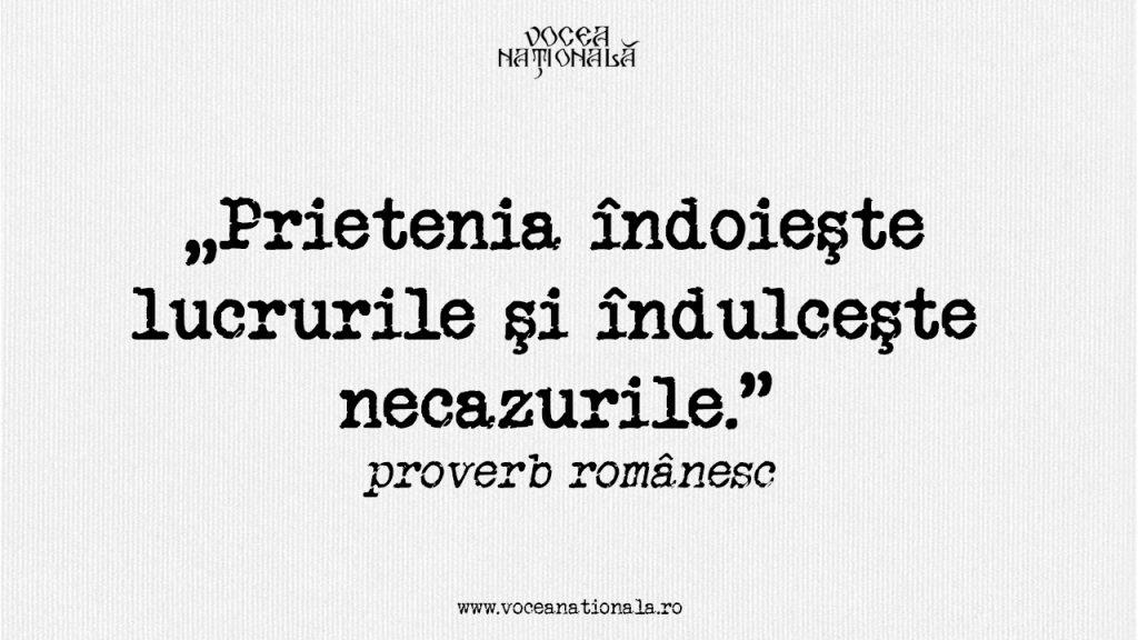 """""""Prietenia îndoieşte lucrurile şi îndulceşte necazurile."""" proverb românesc"""