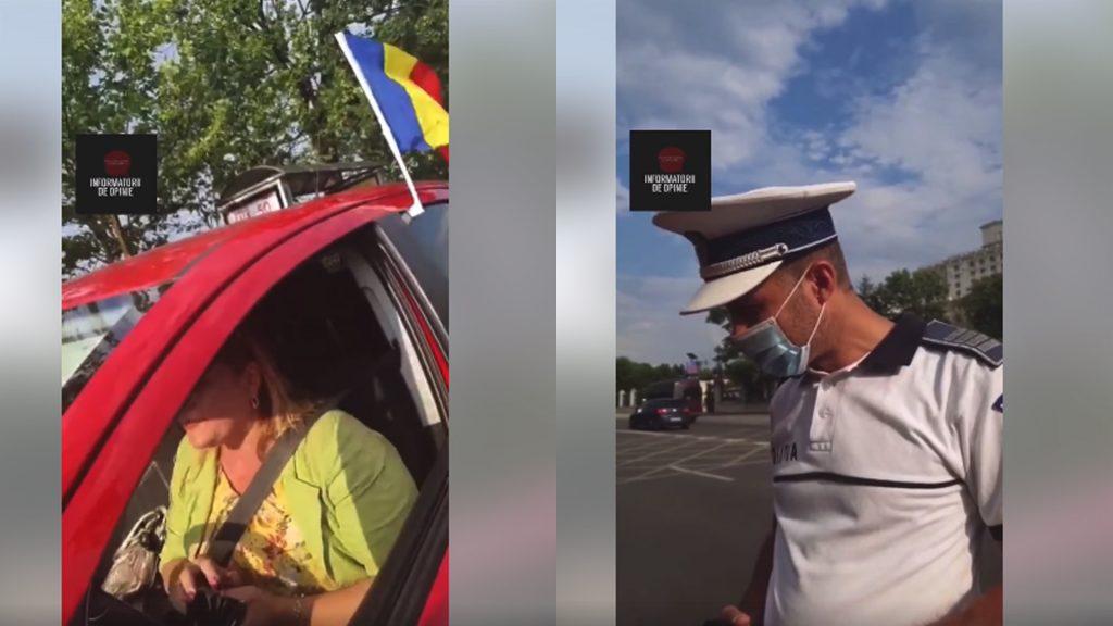 REVOLTĂTOR. Femeie oprită în trafic de poliţie pentru că a agăţat steagul României pe maşină