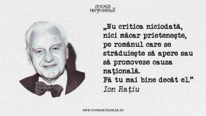 Nu critica românul, citat de Ion Raţiu
