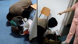 Un bătrân căzut în genunchi pe holurile unui spital din Corabia
